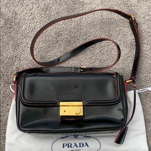 PRADA Spazzolato Patent Leather Crossbody Bag